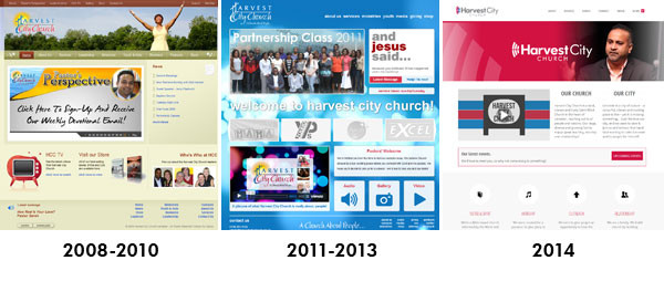 Evolution of the Harvest City Church website